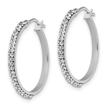 Leslie's 14k White Gold Crystals from Swarovski Polished Hoop Earrings