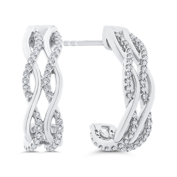 Round Cut Diamond J Hoop Earrings