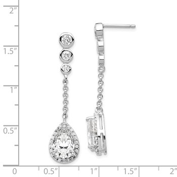 Cheryl M Sterling Silver Rhodium Plated CZ Teardrop Dangle Post Earrings