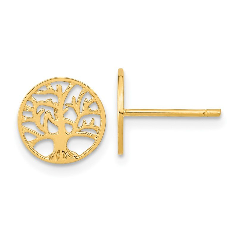 Quality Gold 14k Round Tree Post Earrings