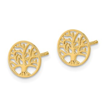 14k Round Tree Post Earrings