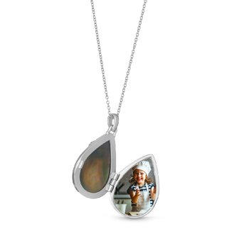 Ella Locket Necklace Black Mother of Pearl