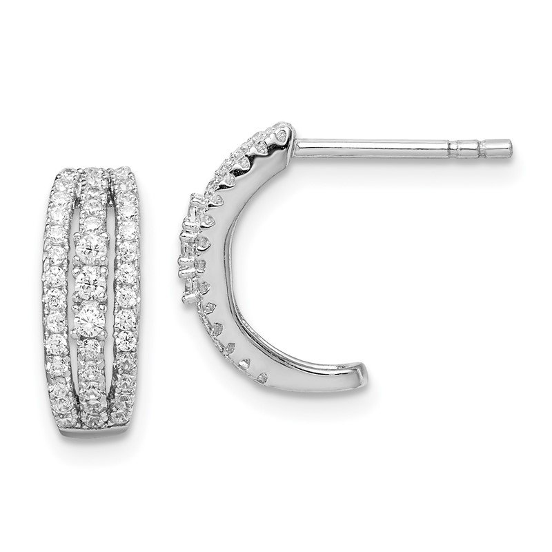 Quality Gold Sterling Silver Rhodium-plated 3-Row CZ C-Hoop Post Earrings
