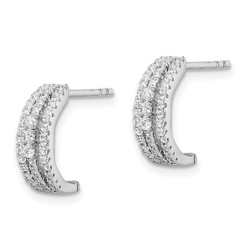 Sterling Silver Rhodium-plated 3-Row CZ C-Hoop Post Earrings