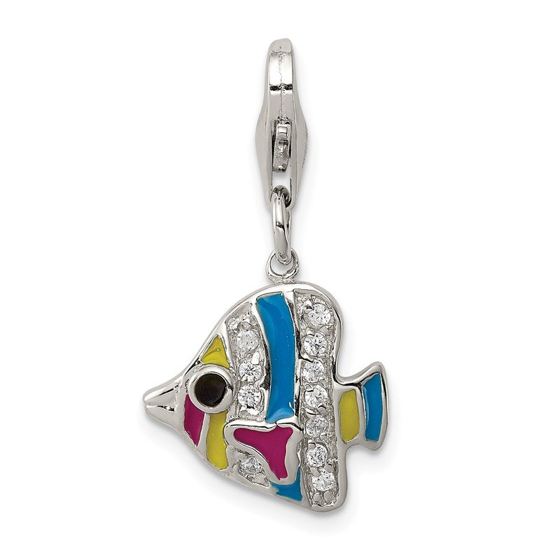 Quality Gold Sterling Silver Multi-colored Enameled Fish Charm