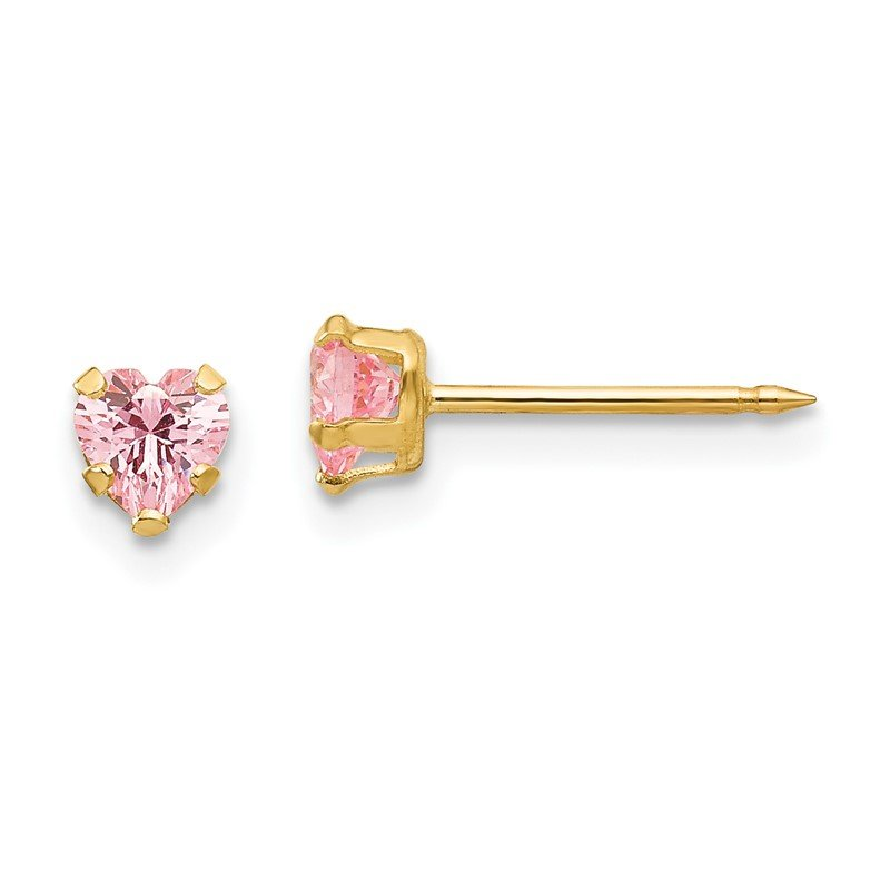 Quality Gold Inverness 14k 4mm Pink Heart CZ Earrings