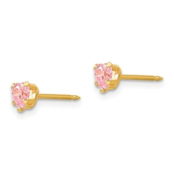 Inverness 14k 4mm Pink Heart CZ Earrings
