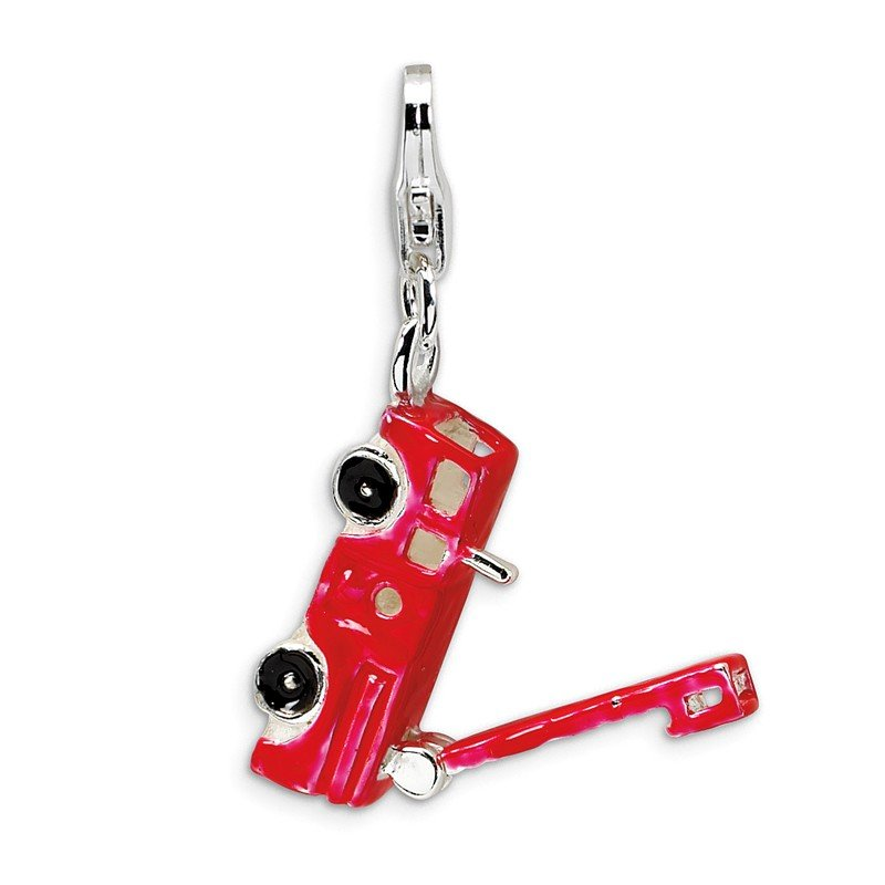 Quality Gold Sterling Silver Enamel Fire Truck w/Lobster Clasp Charm