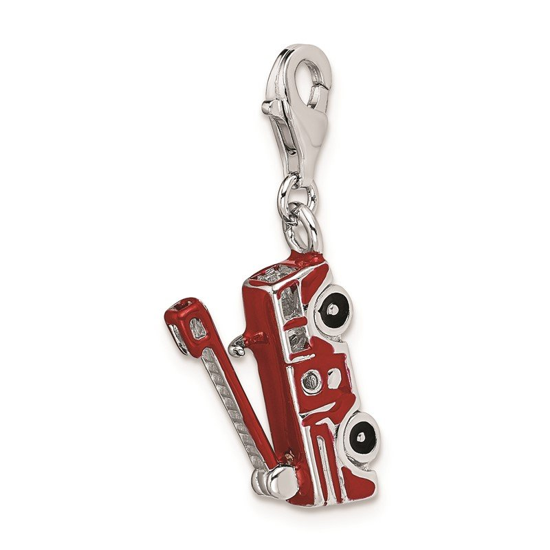 Quality Gold Sterling Silver RH Enamel Fire Truck w/Lobster Clasp Charm