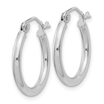 Sterling Silver Rhodium-plated 2mm Round Hoop Earrings