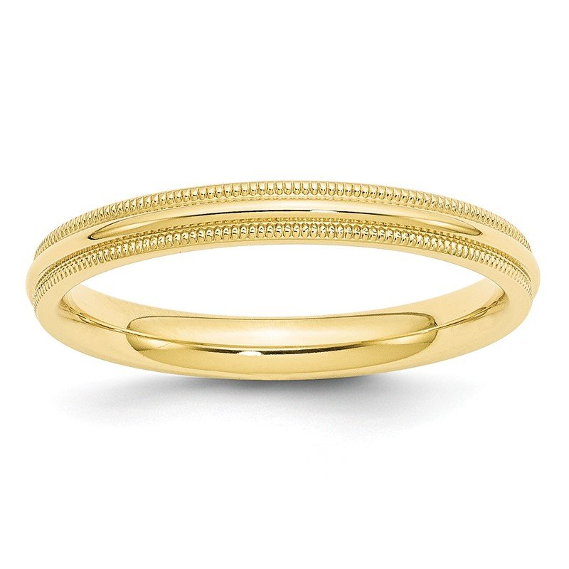 Quality Gold 10KY 3mm Milgrain Comfort Fit Band Size 10