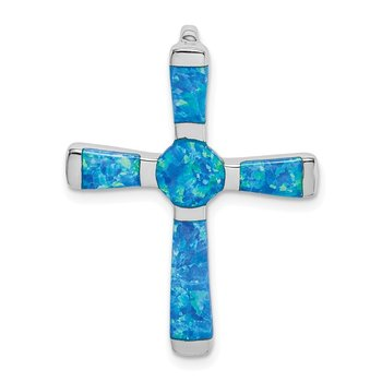 Sterling Silver Created Opal Cross Slide Pendant