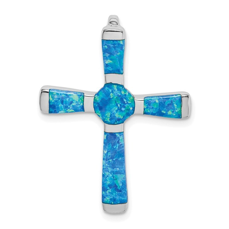 Quality Gold Sterling Silver Created Opal Cross Slide Pendant