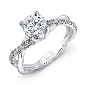 "Uneek Round Diamond Solitaire Engagement Ring with Infinity-Style Crisscross Shank and Two Bezel-Set ""Surprise Diamonds,"" in 14K White Gold"