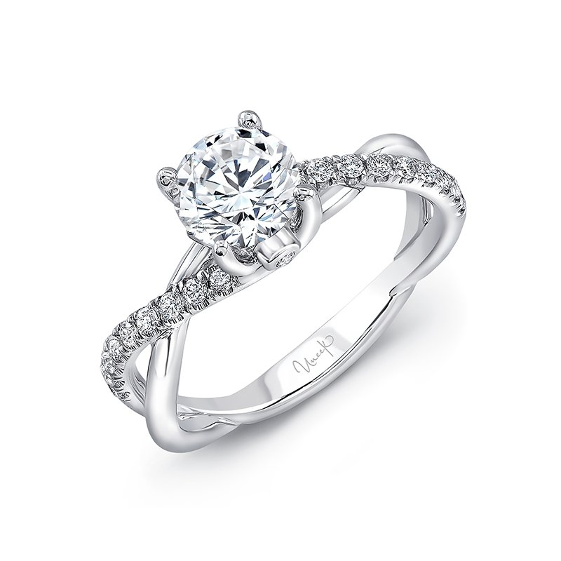 "Uneek Fine Jewelry Uneek Round Diamond Solitaire Engagement Ring with Infinity-Style Crisscross Shank and Two Bezel-Set ""Surprise Diamonds,"" in 14K White Gold"
