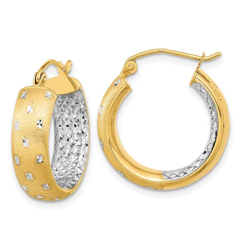Quality Gold 14k White Rhodium Polished Satin Diamond-cut In/Out Hoop Earrings