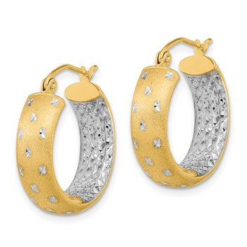 14k White Rhodium Polished Satin Diamond-cut In/Out Hoop Earrings