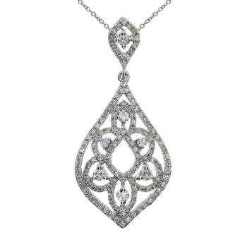14K White Gold Teardrop Fashion Diamond Pendant