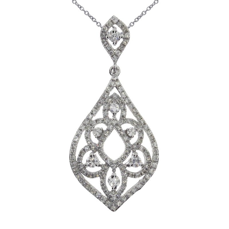 Color Merchants 14K White Gold Teardrop Fashion Diamond Pendant