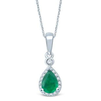 14K 0.10Ct  Diamond  Emerald  Pendant