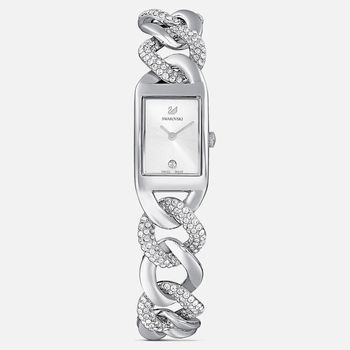 Cocktail Watch, Full Pavé, Metal bracelet, Silver tone, Stainless Steel