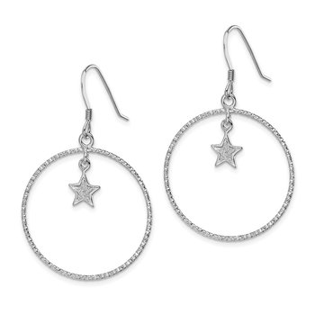 Sterling Silver RH-plate Enamel Glitter Fabric Star D/C Circle Earrings