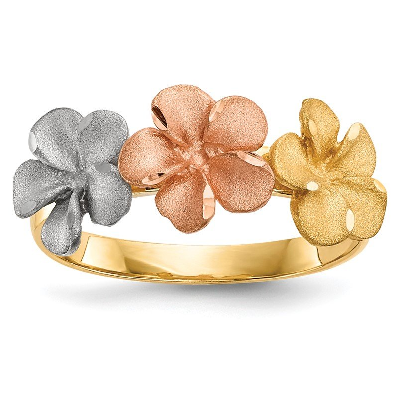 Quality Gold 14k Two-tone w/White Rhodium Satin D/C 3-Plumerias Ring