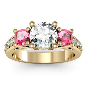 Three Stone Pink Sapphire Pave Set Diamond Ring