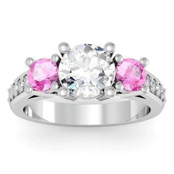 Three Stone Pink Sapphire Pave Set Diamond Ring