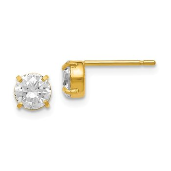 Leslie's 14K Cz Stud-5.0mm Earrings