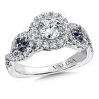 Valina Diamond and Blue Sapphire Engagement ring mounting in 14K White Gold (.45 ct. tw.)