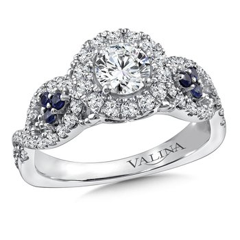 Diamond and Blue Sapphire Engagement ring mounting in 14K White Gold (.45 ct. tw.)