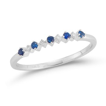 14K Delicate band 4 Diamonds 0.03C & 5 Sapphires 0.12C