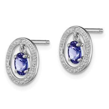Sterling Silver Rhodium Plated Diamond & Tanzanite Oval Post Earrings