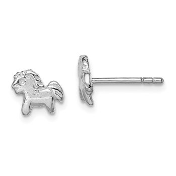 Sterling Silver RH Plated Child's Polished Pony Post Earrings