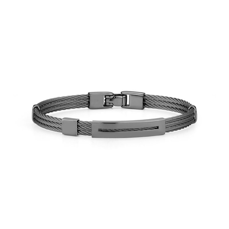 ALOR Black Cable Bracelet with Open Rectangular Steel Station
