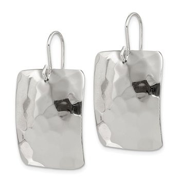 Sterling Silver Polished Hammered Square Shepherd Hook Earrings