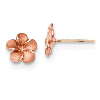 14k Rose Rhodium Diamond-cut Plumeria with Yellow Gold Post Earrings