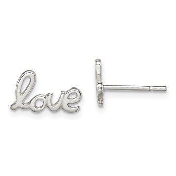 Sterling Silver Polished Love Post Earrings