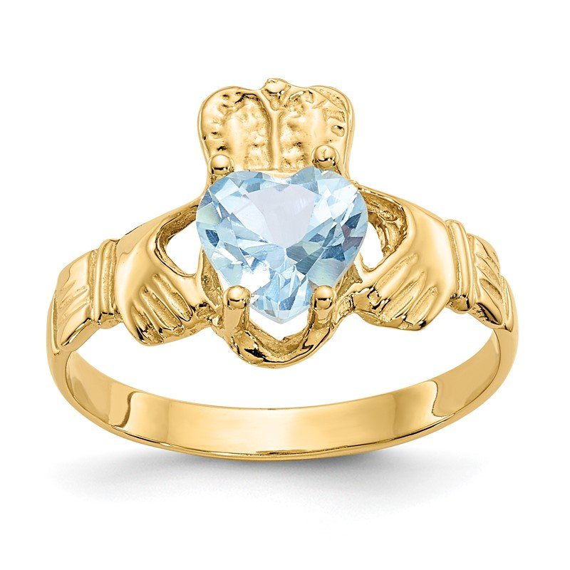 Quality Gold 14k March CZ Birthstone Claddagh Ring