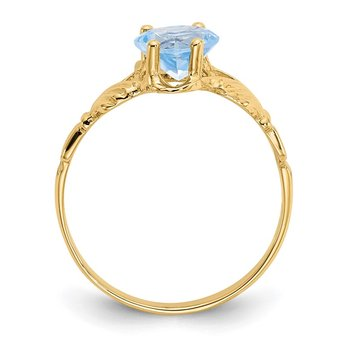 14k March CZ Birthstone Claddagh Ring