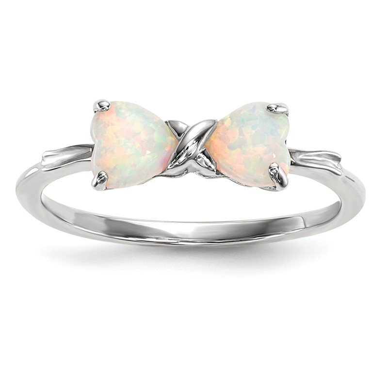 Quality Gold 14k White Gold Polished Created Opal Bow Ring