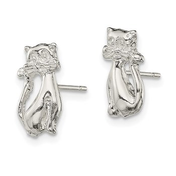 Sterling Silver Cat Mini Post Earrings