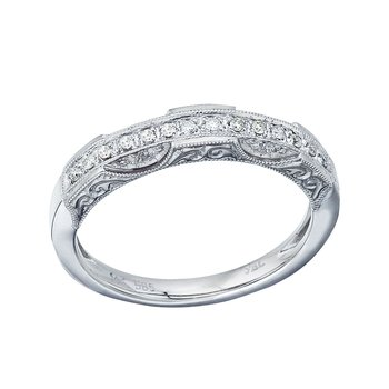 14K White Gold Filigree Diamond Band Ring