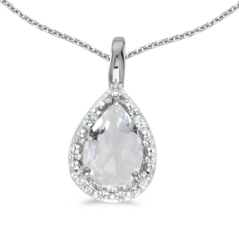 10k White Gold Pear White Topaz Pendant