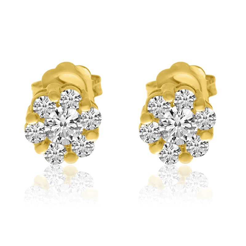 Color Merchants 14k Yellow Gold Diamond Clustaire Earings