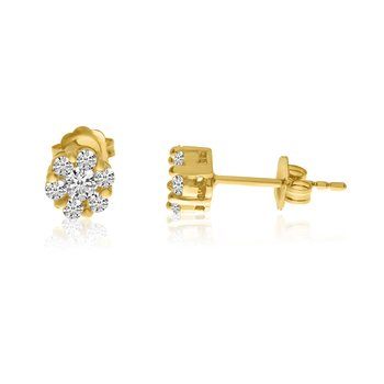 14k Yellow Gold Diamond Clustaire Earings