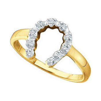 14k Yellow Gold Diamond-accent Womens Small Horse shoe Lucky Ring 1/20 Cttw
