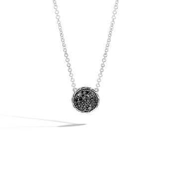 Classic Chain Round Necklace in Silver with Gemstone