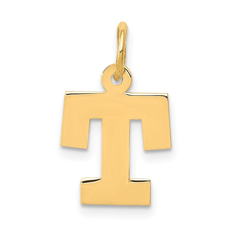 Quality Gold 14k Small Block Letter T Initial Charm
